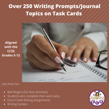 Over 250 Writing Prompts/Journal Topics on Task Cards (Aligned with the CCSS)