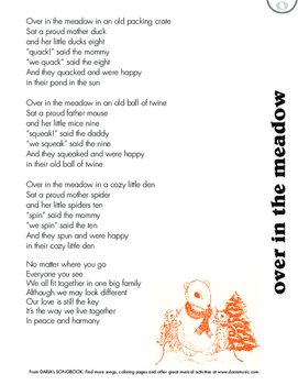 Over In The Meadow - An Inclusive Counting Song - Free Lyric Sheet