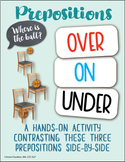 OVER, ON, UNDER (preposition workbook with manipulatives) - Speech Therapy
