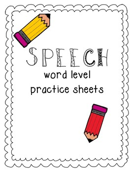 Speech Word Level Homework Sheets- Full Version