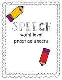 Speech Word Level Homework Sheets- Full Version