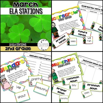 March Centers: Second Grade Math and ELA