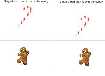 Over Under Gingerbread Man SMART board activity