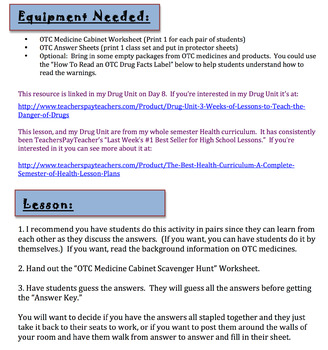 "OTC ""Over the Counter"" Medicine Cabinet Scavenger Hunt Lesson FREE!"