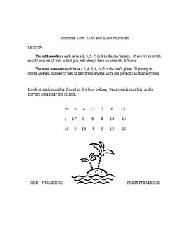 Over the Ocean of Odds:  A Math Story and Set of Number Sorting Worksheets