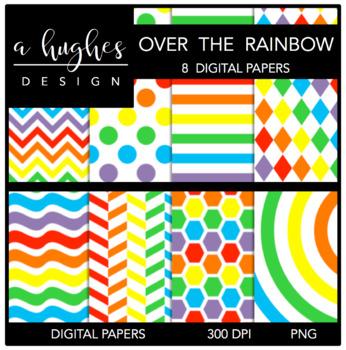 12x12 Digital Paper Set: Over The Rainbow {A Hughes Design}