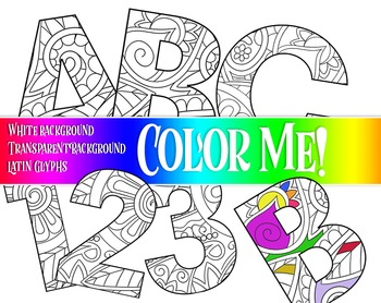 "ColorMe!!  Alphabet  /  95 pcs - 6-7"" High, Vector PDF and PNGs"