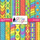 Rainbow Bold Scrapbook Paper Backgrounds {Glitter Meets Glue}