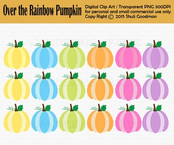 Over the Rainbow Pumpkins clip art, chevrin, polka dots and rainbow colors