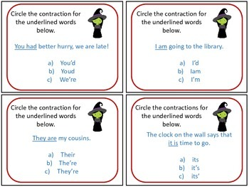 Over the Rainbow/Wizard of Oz inspired Contraction Task Cards