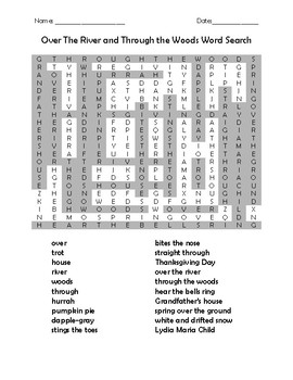 Over the River and Through the Woods Word Search