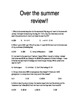 Over the summer review!!