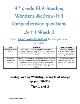 Overall Structure- McGraw Hill Reading Wonders 4th grade U1W3