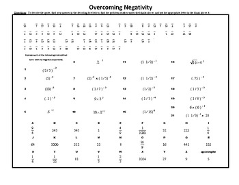 Overcoming Negativity, An Exercise in Negative Exponents