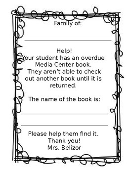 Overdue library book notice