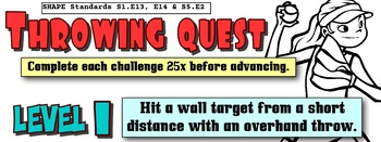 PE Overhand Throwing Quest Skill Progression - 6 Levels!