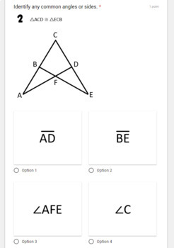 Overlapping Triangle Congruence- digital assignment for use with Google Forms