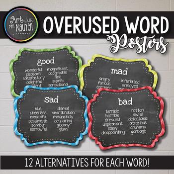 16 Overused Word Posters (Chalkboard Chevron) {12 Fancy word alternatives each}