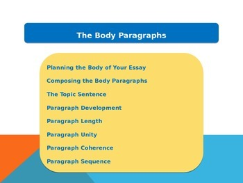 Overview of Body Paragraphs
