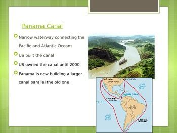 Overview of Central America including the Panama Canal