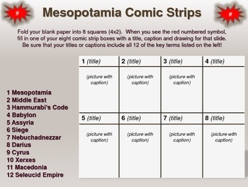 Overview of Mesopotamia Comic Strip Activity: an engaging follow-along resource