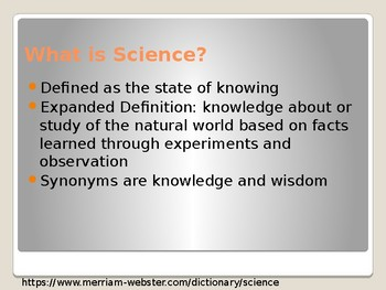 Overview of Science- First Day of Class