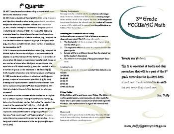 Overview of third grade math brochure