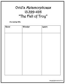 "Ovid's ""Fall of Troy"" Latin Translation, Analysis, and Multiple Choice"