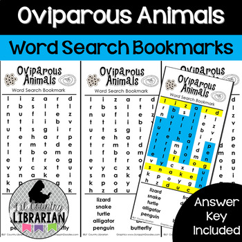 Oviparous Animals Word Search Bookmarks for Eggs and Life