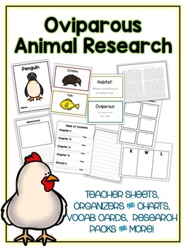 Oviparous Research Project - 12 Types, Vocab Cards, Packet, Book & More
