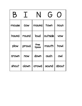 Ow, Ou BINGO for Centers and Word Work