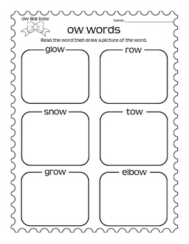 Ow Words Sorts and Read and Draw