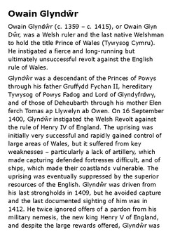 Owain Glyndŵr Handout