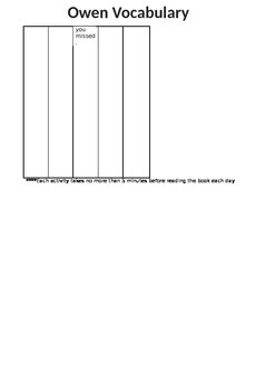 Owen 5 Day Vocabulary Activities