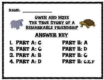 Owen and Mzee Comprehension Printables Pack