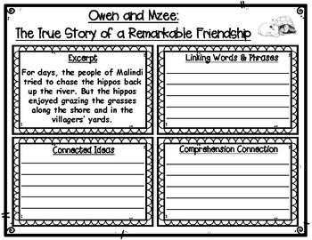 Owen and Mzee Connecting Ideas with Linking Words Graphic Organizers