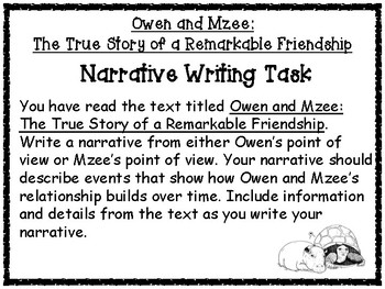 Owen and Mzee Narrative Writing Task Printables