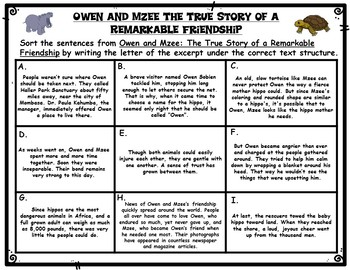 Owen and Mzee The True Story of a Remarkable Friendship Text Structures Activity