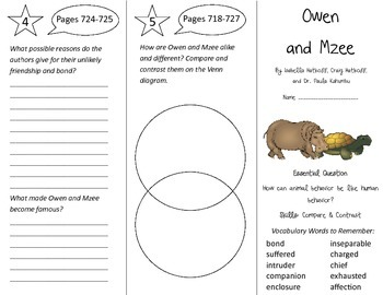 Owen and Mzee Trifold - Journeys 4th Grade Unit 5 Week 4 (