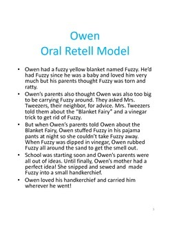 Owen by Kevin Henkes - Story Comprehension, Retell, & Vocabulary