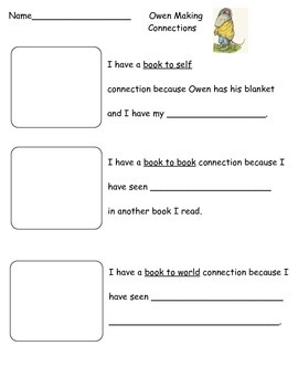 Owen by Kevin Henkes Making Connections Reading Strategy