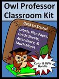 Owl Theme Classroom Kit: Owl Professor Teacher Binder/Lesson Planner Bundle