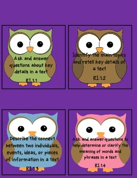 Owl 1st CCSS Foundational Skills-Literature-Informational Text I Can Statements