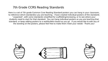 Owl 7th Grade CCRS Reading Standards Posters