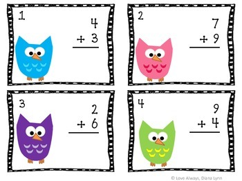 'Owl' About Addition Task Card Set (60 Task Cards)