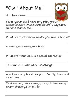 Owl About Me Parent Form