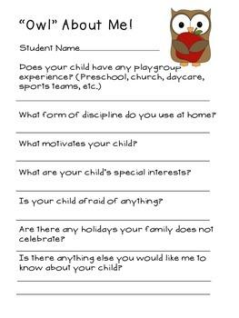 Owl About Me Parent Form