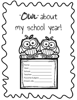 Owl About My School Year Book End of the Year Writing Prompts