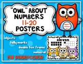 """""""Owl"""" About Numbers {Math Posters 11-20} Kindergarten Common Core"""