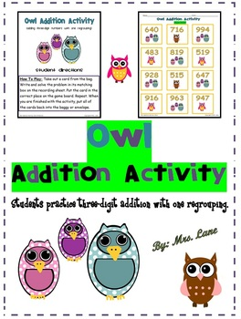 Owl Addition Activity